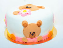 Teddy bear birthday cake for kids Royalty Free Stock Photo