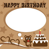 Teddy bear birthday card. That design in brown color Royalty Free Stock Photos