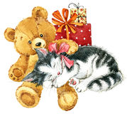 Teddy bear for birthday card. watercolor Stock Photo