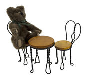 Teddy Bear in Bistro Setting Royalty Free Stock Photography