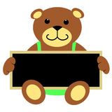Teddy Bear With Blackboard. Cute brown teddy bear in light green jumpsuit sitting and holding chalkboard royalty free illustration