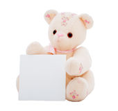 Teddy bear with a blank card. Flower teddy bear presenting a blank square card for your message, isolated on white.  Part of series featuring the same bear Stock Image