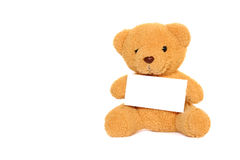Teddy Bear with blank isolated. Teddy Bear with blank on white background Stock Photo