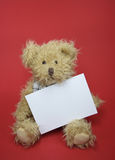 Teddy bear  with a blank note. Teddy bear toy with a blank note isolated on red  background Stock Photos