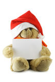 Teddy bear with blank sheet for your own text. Hat isolated over white background stock images