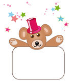 Teddy bear with blank sign royalty free stock photography