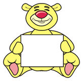 Teddy bear with a blank sign Stock Images