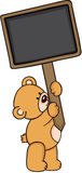 Teddy bear with blank wood sign stock illustration