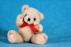 Teddy bear on a blue blanket Stock Photography
