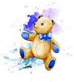 Teddy bear. Watercolor illustration. Teddy bear on blue spot. Watercolor illustration Royalty Free Stock Photo
