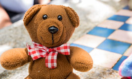 Teddy Bear with blur back ground Stock Photo