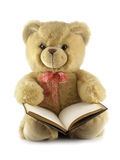 Teddy bear with a book. Isolated over a white background stock images