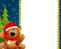 Teddy Bear Border Xmas. A background illustration featuring a teddy bear sitting in front of tree as border or frame Stock Photo