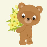 Teddy bear with a bouquet of flowers. Teddy bear holding a bouquet of yellow flowers. Festive vector cartoon illustration Stock Photo