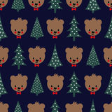 Teddy Bear with bow and Xmas Trees seamless pattern. Cute vector background with boy teddy bear and Christmas tree. Child drawing style illustration for winter Stock Photo