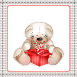 Teddy bear with a box of hearts5 Royalty Free Stock Photos