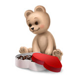 Teddy bear with a box of sweets Royalty Free Stock Photo