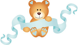 Teddy bear boy holding a blue ribbon banner Royalty Free Stock Images