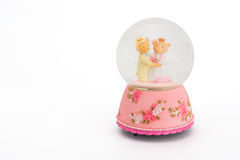 Teddy Bear bride and groom in glass sphere. Royalty Free Stock Images