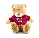 TEDDY BEAR brown color with red shirt on white background Royalty Free Stock Photos