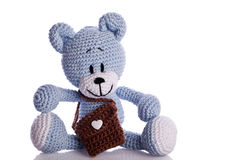 teddy bear with brown school bag Royalty Free Stock Image