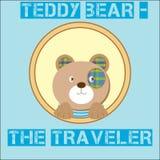 Teddy Bear brun mignon - le voyageur sur le fond illustration libre de droits
