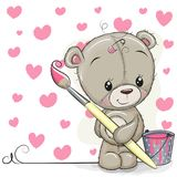 Teddy Bear with brush is drawing a hearts. Cute Teddy Bear with brush is drawing a hearts stock illustration