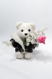 Teddy bear with a bunch of flowers Stock Photo