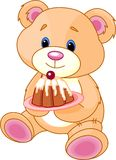 Teddy Bear with cake Royalty Free Stock Photography