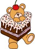 Teddy bear in cake with cherry on head. Scalable vectorial representing a teddy bear in cake with cherry on head, illustration isolated on white background Royalty Free Stock Photography