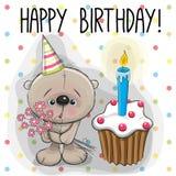 Teddy Bear with cake Stock Photography
