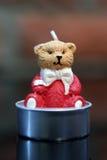 Teddy bear candle. Christmas decoration: Teddy bear candle Royalty Free Stock Image