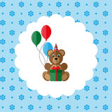 Teddy bear in cap with balloons and gift. Royalty Free Stock Photography