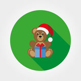Teddy bear in a cap of Santa Claus. Icon for web and mobile application. Vector illustration on a button with a long shadow. Flat design style Stock Photos