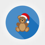Teddy bear in a cap of Santa Claus. Icon for web and mobile application. Vector illustration on a button with a long shadow. Flat design style Royalty Free Stock Photography