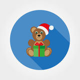 Teddy bear in a cap of Santa Claus. Icon for web and mobile application. Vector illustration on a button with a long shadow. Flat design style Stock Photography