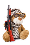 Teddy bear in cap and scarf with rifle Stock Images