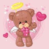 Teddy Bear Carácter de los niños Tarjeta del regalo Tarjeta de felicitación del día del ` s del feliz cumpleaños o de la tarjeta  Fotografía de archivo libre de regalías
