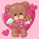 Teddy Bear Carácter de los niños Tarjeta del regalo Tarjeta de felicitación del día del ` s del feliz cumpleaños o de la tarjeta  Imagen de archivo libre de regalías
