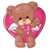 Teddy Bear Carácter de los niños Tarjeta del regalo Tarjeta de felicitación del día del ` s del feliz cumpleaños o de la tarjeta  Fotos de archivo libres de regalías