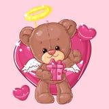 Teddy Bear Carácter de los niños Tarjeta del regalo Tarjeta de felicitación del día del ` s del feliz cumpleaños o de la tarjeta  Imagenes de archivo