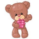 Teddy Bear Carácter de los niños Tarjeta del regalo Tarjeta de felicitación del día del ` s del feliz cumpleaños o de la tarjeta  Foto de archivo