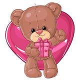 Teddy Bear Carácter de los niños Tarjeta del regalo Tarjeta de felicitación del día del ` s del feliz cumpleaños o de la tarjeta  Fotos de archivo