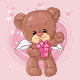 Teddy Bear Carácter de los niños Tarjeta del regalo Tarjeta de felicitación del día del ` s del feliz cumpleaños o de la tarjeta  Imágenes de archivo libres de regalías