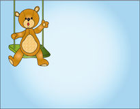 Teddy bear card. Illustration with a teddy bear in swing Stock Photos