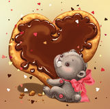 Teddy bear with a  Card Valentine's Day. Royalty Free Stock Photography