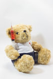 Teddy bear carrying plastic medical syringe containing red liquids royalty free stock images