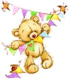 Teddy Bear Carte d'anniversaire Illustration d'aquarelle illustration stock