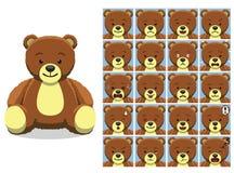 Teddy Bear Cartoon Emotion sveglio affronta l'illustrazione di vettore Immagini Stock