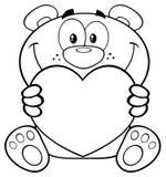 Teddy Bear Cartoon Mascot Character in bianco e nero che tiene Valentine Love Heart Illustrazione Vettoriale